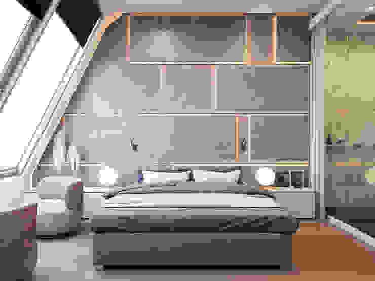Пентхаус в Садовых Кварталах Спальня в стиле минимализм от Kerimov Architects Минимализм