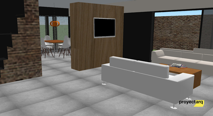 Vivienda GS Salones minimalistas de Proyectarq Minimalista Madera Acabado en madera