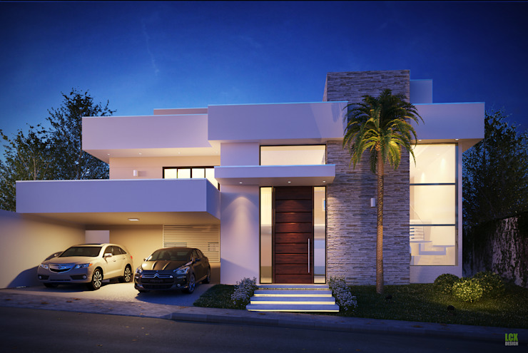 Fachada frontal Art&Contexto Arquitetura Casas modernas Bege