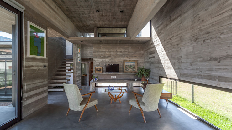 Гостиная в . Автор – Besonías Almeida arquitectos, Модерн Бетон