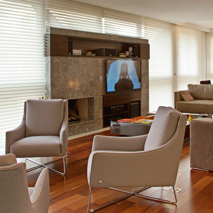 Studio Leonardo Muller Modern living room Marble Beige