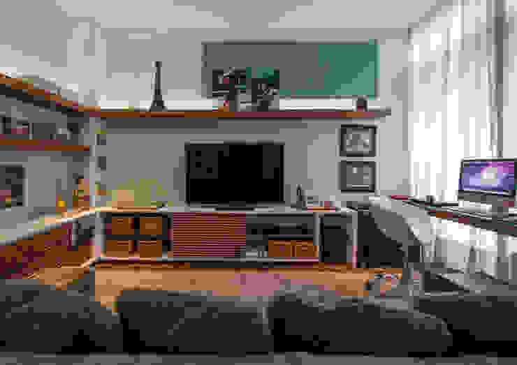 Estar Íntimo Studio Leonardo Muller Salas de estar modernas Madeira