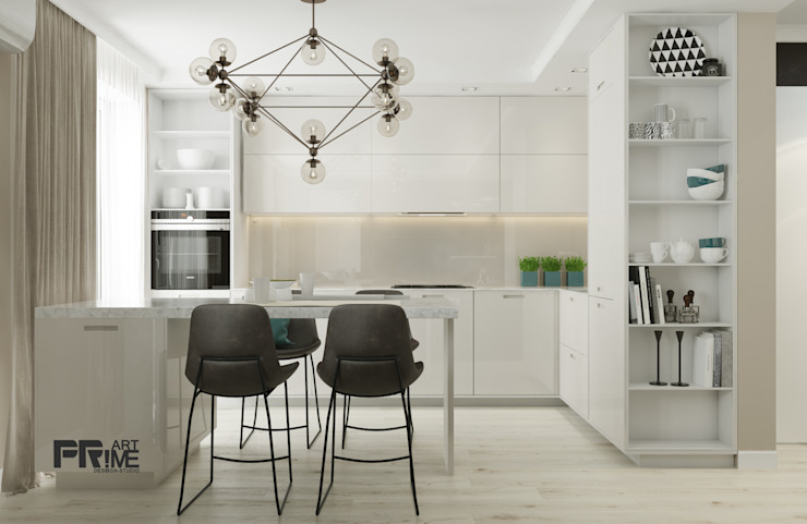 Квартира-студия в современном стиле. Бюджетный вариант! Кухня в стиле минимализм от 'PRimeART' Минимализм ДСП