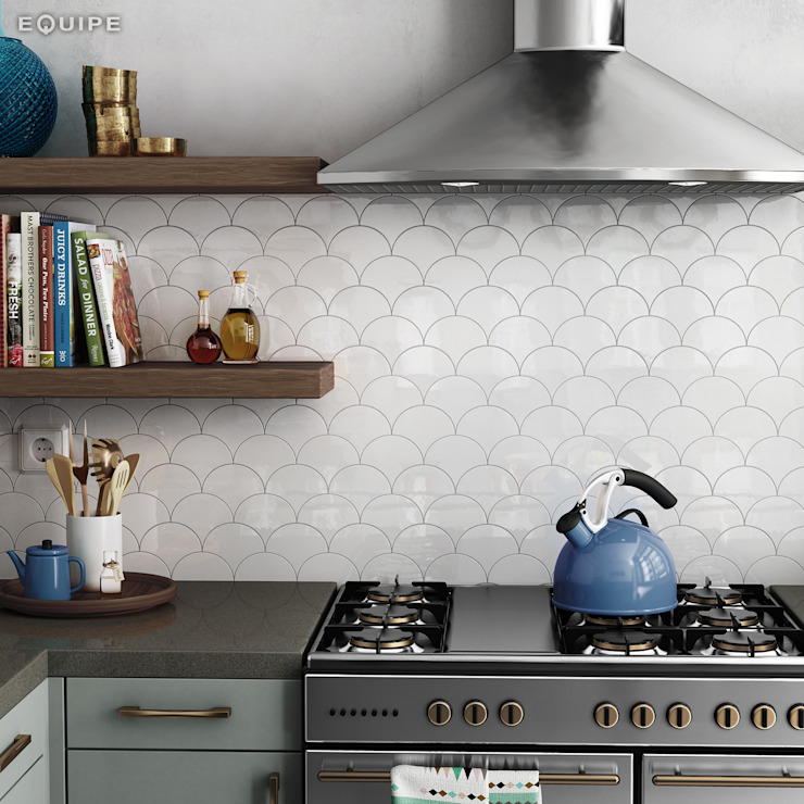 Scale Fan Cocinas de estilo mediterráneo de Equipe Ceramicas Mediterráneo Cerámico