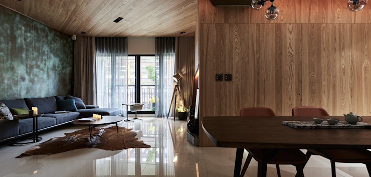 The Metaphor of Residence─冠德鼎極.居所的隱喻 现代客厅設計點子、靈感 & 圖片 根據 DYD INTERIOR大漾帝國際室內裝修有限公司 現代風