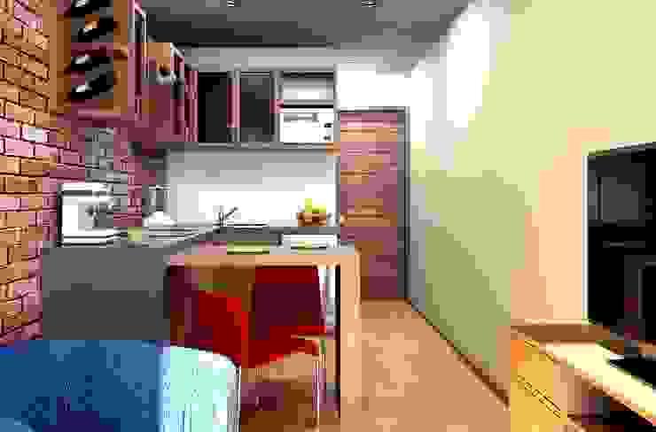 Oficina y Mini Departamentos Cocinas modernas de Arq. Rodrigo Culebro Sánchez Moderno