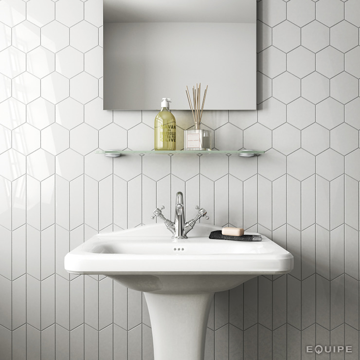 Equipe Ceramicas Rustic style bathroom Ceramic White