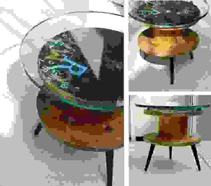 Mesa de luz con carrete de madera y vidrio de Lola Eme Deco Rústico Madera Acabado en madera