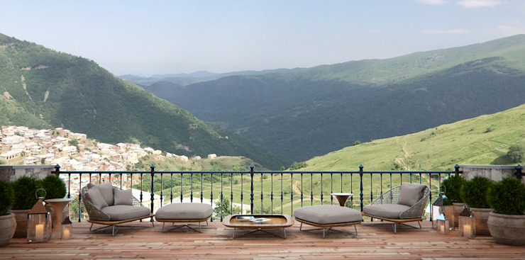 Архитектура Интерьера Classic style balcony, veranda & terrace