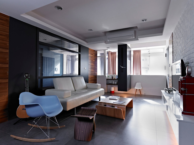 美式都會的時尚風格-寫意人生的輕快節奏 采金房 Interior Design 现代客厅設計點子、靈感 & 圖片