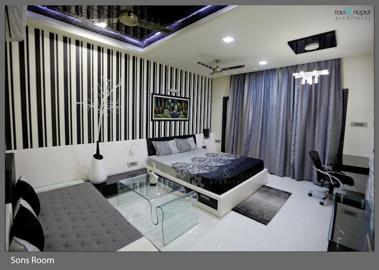 Three Storey Grand Residence @Paota,Jodhpur Modern style bedroom by RAVI - NUPUR ARCHITECTS Modern