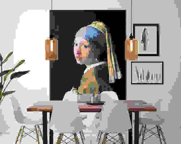 Muurmeesters - Girl with a pearl earring van Muurmeesters Klassiek Textiel Amber / Goud