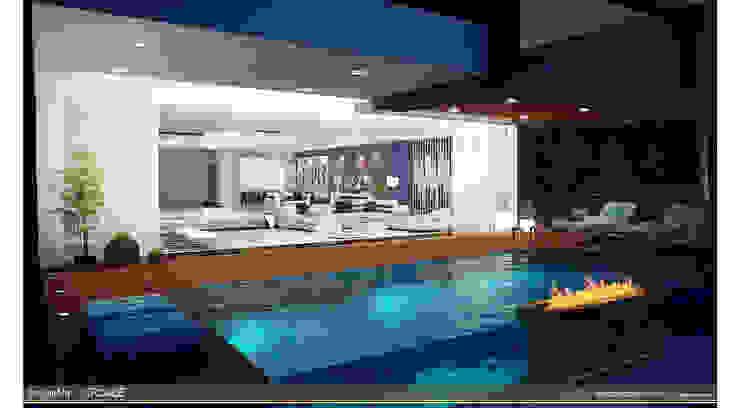 suspended balcony pool by ARCADE DESIGNS Minimalist Wood Wood effect
