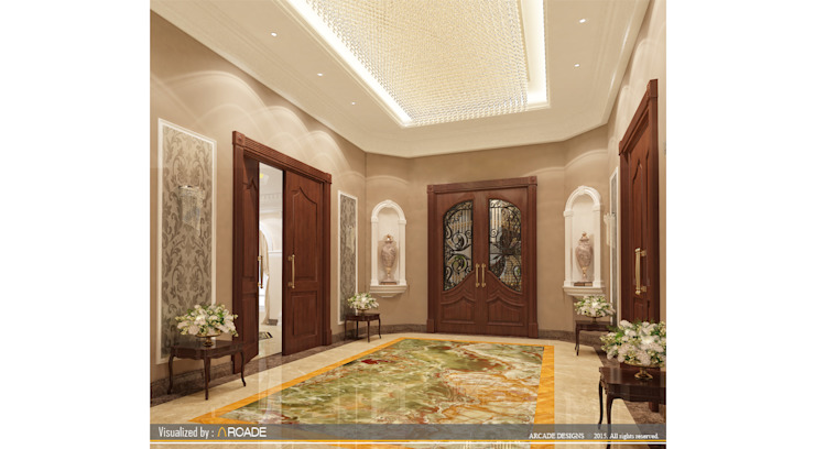 Entrance lobby Classic style corridor, hallway and stairs by ARCADE DESIGNS Classic Marble