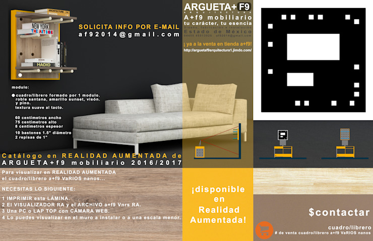 Cuadro/librero/multimedia a+f9 varios nanos. Ahora en realidad aumentada. de argueta+f9 arquitectura Moderno Tableros de virutas orientadas