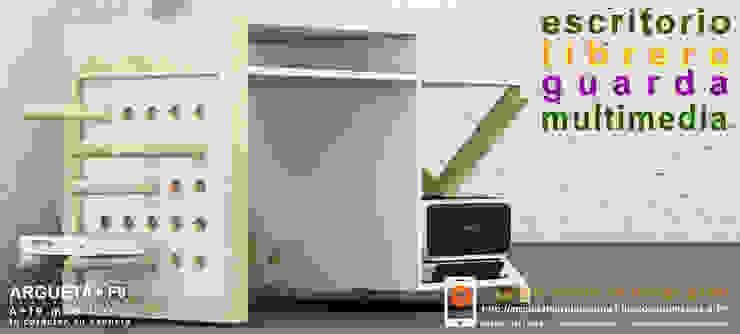 Escritorio/librero/guarda/multimedia a+f9 el tibu nanos modelo VETA BLANCA. Ahora en realidad aumentada. de argueta+f9 arquitectura Moderno Madera maciza Multicolor