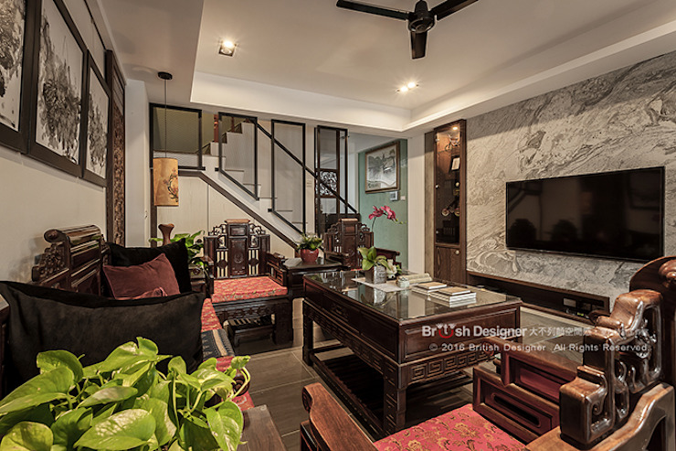 Salones asiáticos de 大不列顛空間感室內裝修設計 Asiático