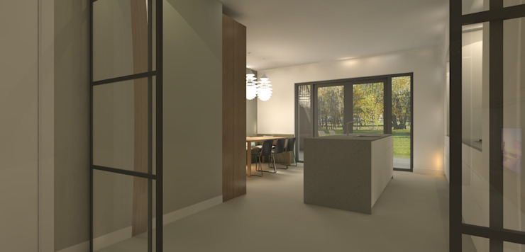 Doorkijkje vanuit televisiekamer Moderne keukens van Studio DEEVIS Modern