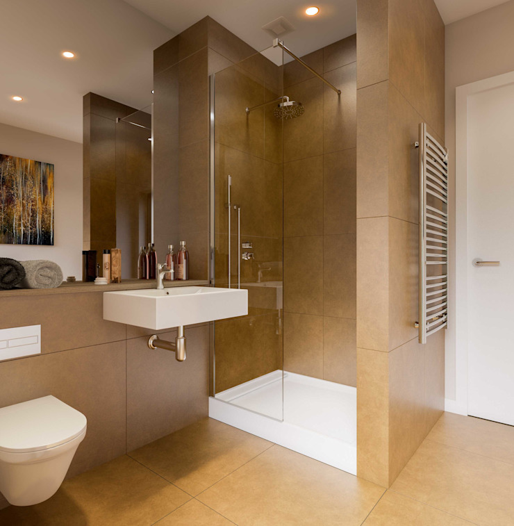 Bathroom CGI Visualisation #3 Minimalist style bathroom by White Crow Studios Ltd Minimalist Ceramic
