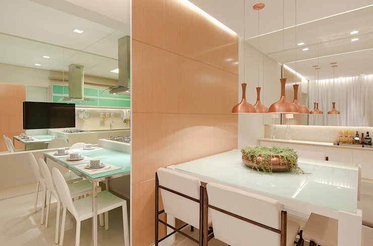 SALA DE JANTAR/COPA Matheus Menezes Arquiteto Salas de jantar modernas Bege