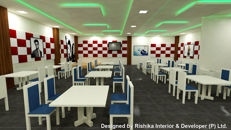 Multi Cuisine restaurant In INDIAN INSTITUTE of GUWAHATI Modern dining room by Rishika Interior & Developer (p) Ltd. Modern Plywood