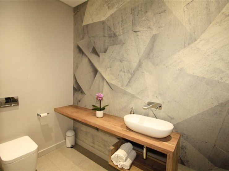 Bathroom Guest E2 Architects Minimalist style bathrooms Wood Grey