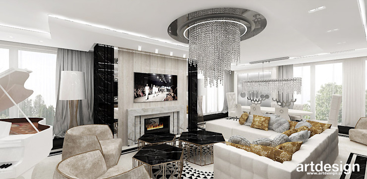 غرفة المعيشة تنفيذ ARTDESIGN architektura wnętrz,