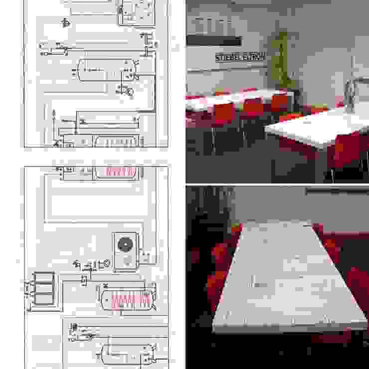 Tafel ontwerp voor STIEBEL ELTRON Kantine: modern  door LINDESIGN Amsterdam Ontwerp Design Interieur Industrieel Meubels Kunst, Modern Multiplex