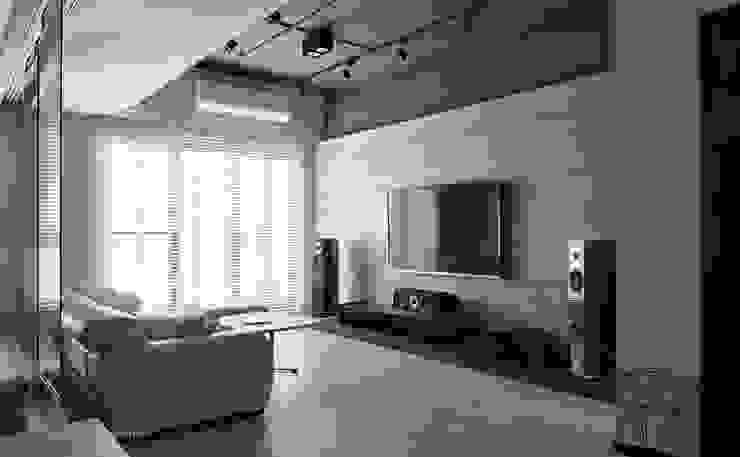 東京中城 蔡宅 现代客厅設計點子、靈感 & 圖片 根據 思維空間設計 現代風
