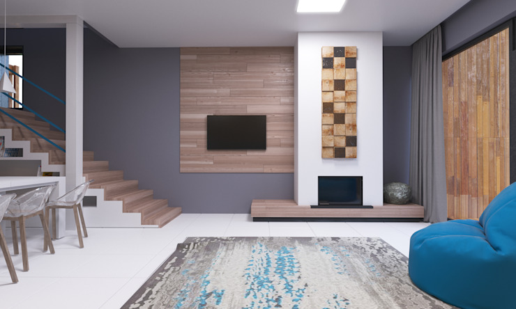 Grynevich Architects Living room Wood Grey
