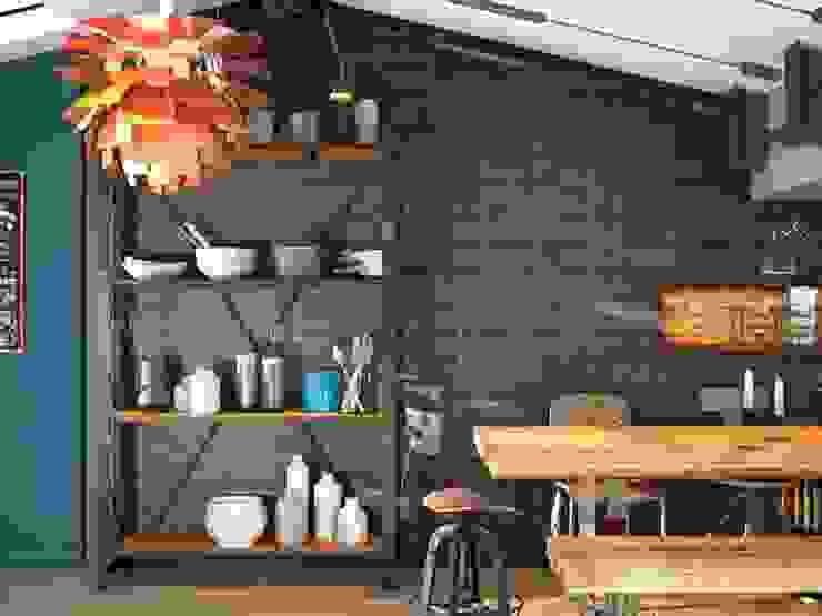 Cucina in stile industriale di Avilcasa materiales de construcción,s.l. Industrial Piastrelle