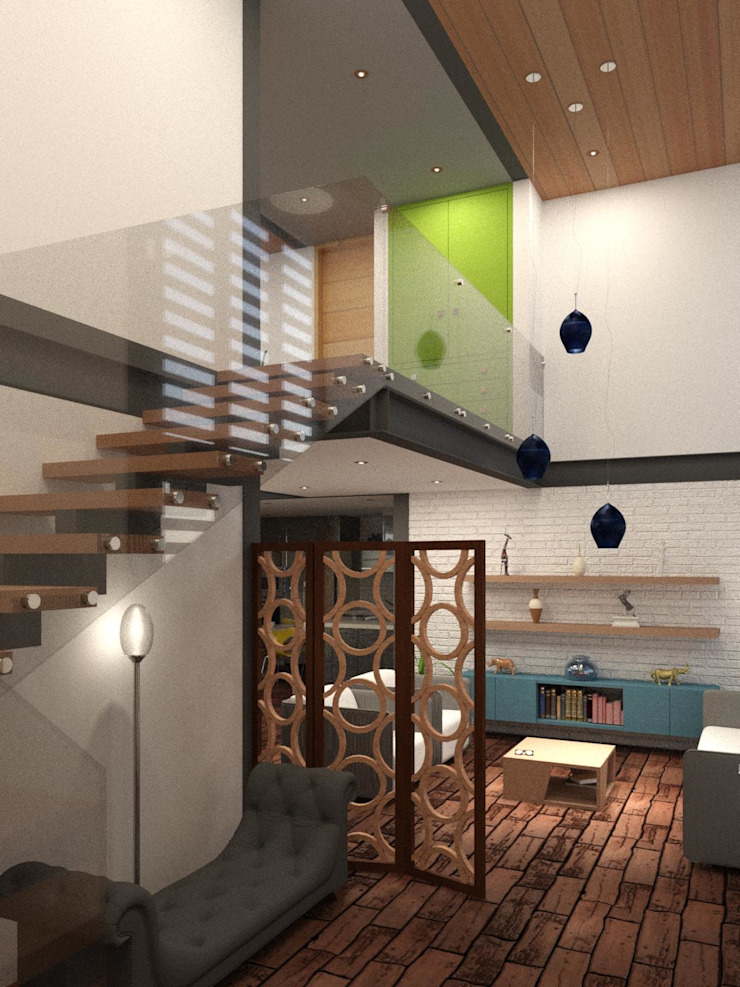 Eclectic style living room by Arq. Rodrigo Culebro Sánchez Eclectic