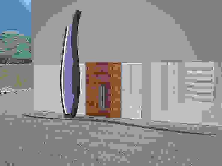 Entrada principal, escultura em basalto e vidro. Clínicas modernas por MUDE Home & Lifestyle Moderno