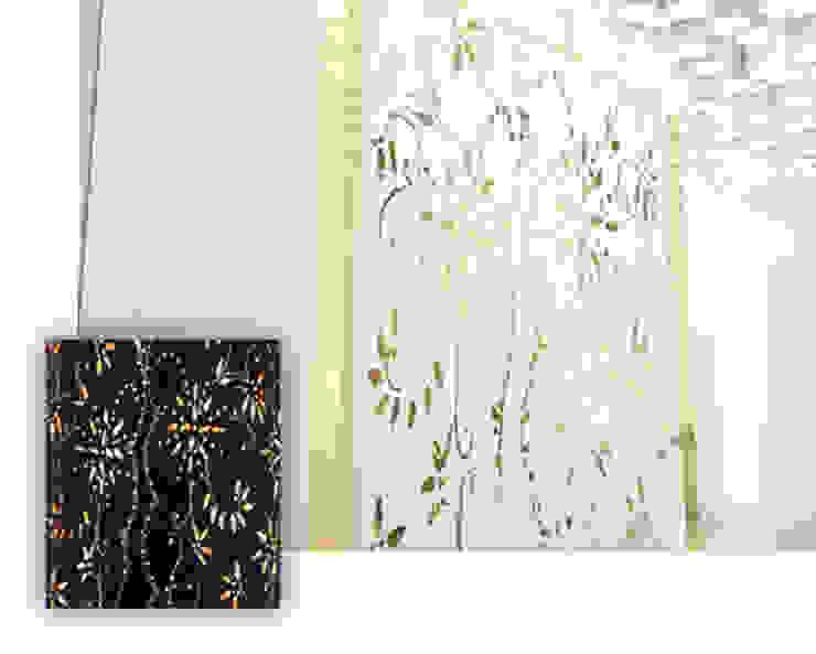 Recepção Spa. Painel representativo dos tradicionais bordados de palha. Clínicas modernas por MUDE Home & Lifestyle Moderno