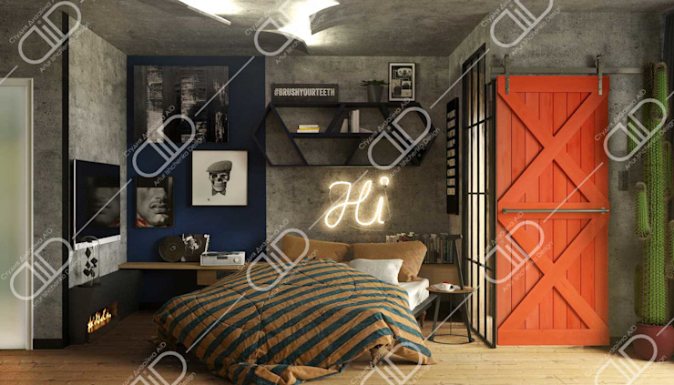 Interior Design and Rendering Industrial style bedroom by Design Studio AiD Industrial Concrete