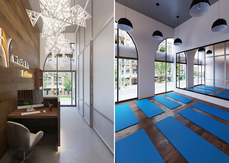 Interior Design and Rendering Minimalist style gym by Design Studio AiD Minimalist Concrete