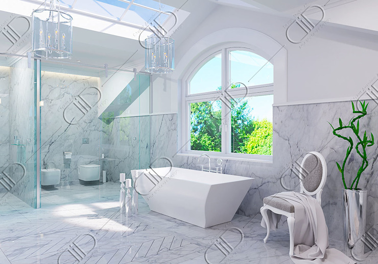 Interior Design and Rendering Modern bathroom by Design Studio AiD Modern Marble