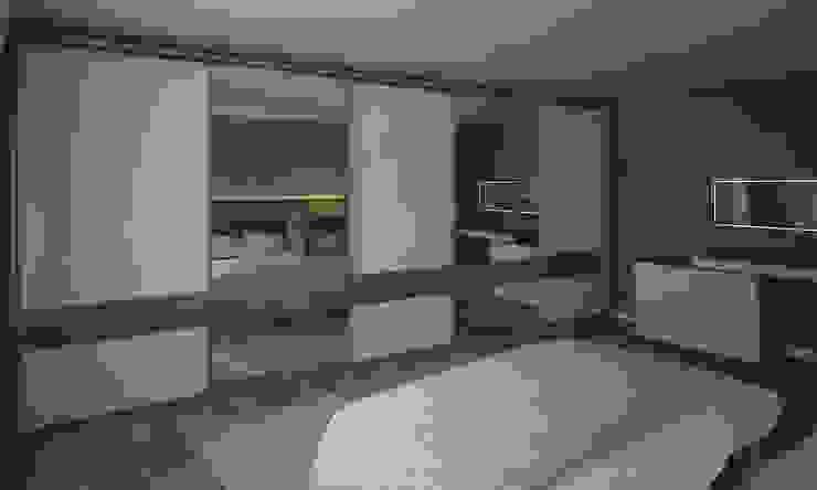 RayKonsept – Aynalı Beyaz Kapaklı Sürgülü Dolap: modern tarz , Modern İşlenmiş Ahşap Şeffaf