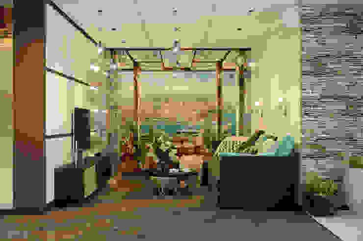 Дизайн кухни-гостиной в доме по ул. Первомайская Гостиная в стиле модерн от Студия интерьерного дизайна happy.design Модерн