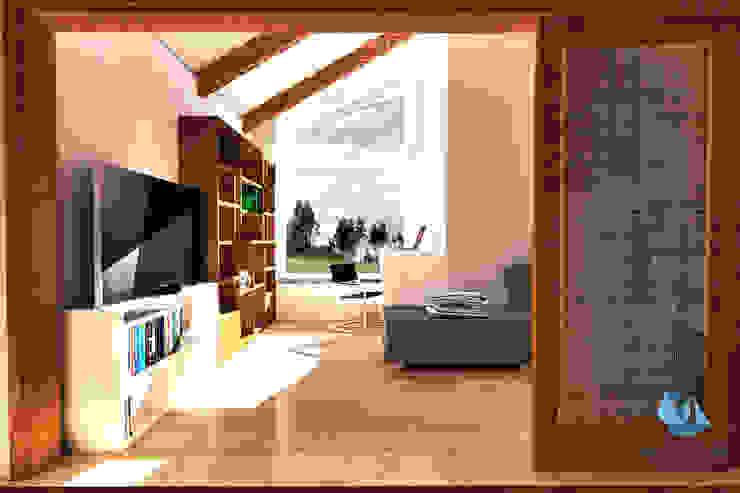 Biblioteca Oficinas y bibliotecas de estilo moderno de NidoSur Arquitectos - Valdivia Moderno