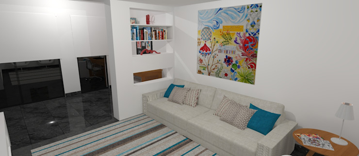 Nowoczesny salon od Carolina Mendonça Projetos de Arquitetura e Interiores LTDA Nowoczesny
