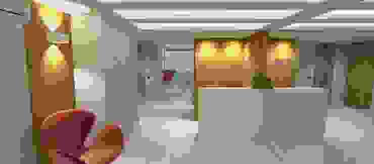 Couloir, entrée, escaliers modernes par Carolina Mendonça Projetos de Arquitetura e Interiores LTDA Moderne