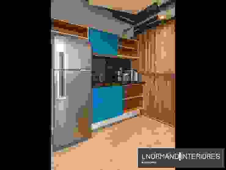 Copa integrada com a sala Lnormand Interiores Lojas & Imóveis comerciais industriais MDF Azul