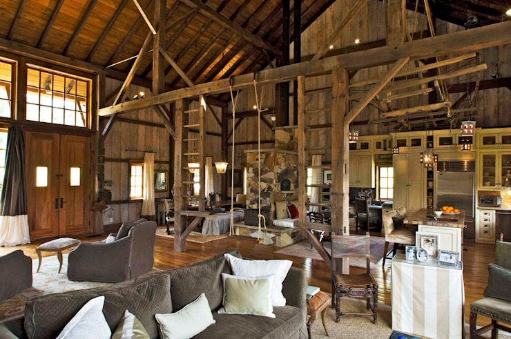 Luxury Barn: country  by Jeffrey Dungan Architects, Country Wood Wood effect