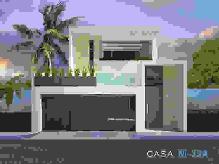 Fachada principal Casas modernas de Constructora Asvial - Desarrollador Inmobiliario Moderno Piedra