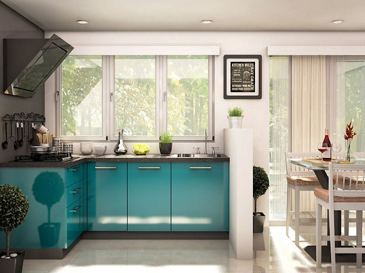 Ixia L-shaped modular kitchen CapriCoast Home Solutions Private Limited Modern kitchen Plywood Blue