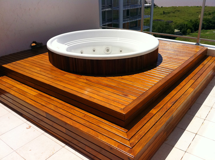 by VIER ABINET S.A. Pisos & Decks Modern Solid Wood Multicolored