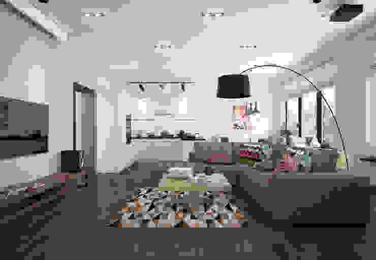 Scandinavian style living room by design studio by Mariya Rubleva Scandinavian