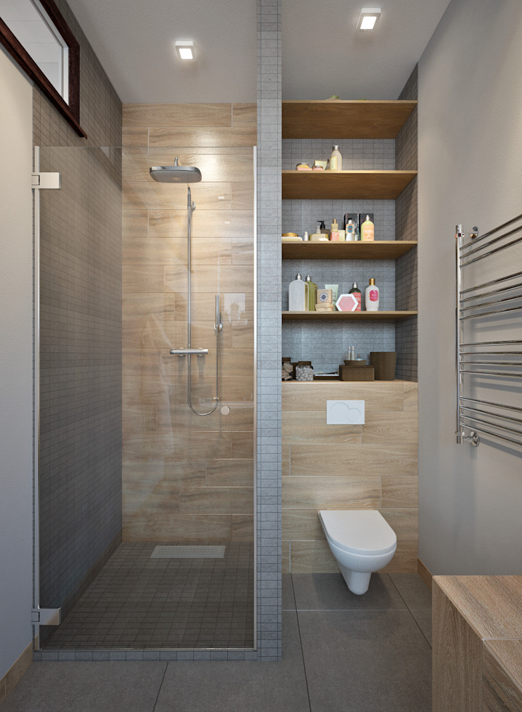townhouse in scandinavian style Scandinavian style bathroom by Rubleva Design Scandinavian