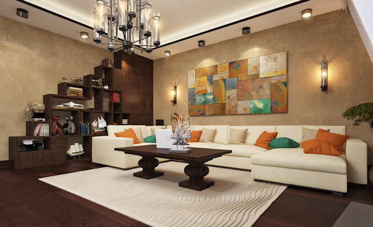apartment with a splendid view on Moscow Modern Living Room by Rubleva Design Modern